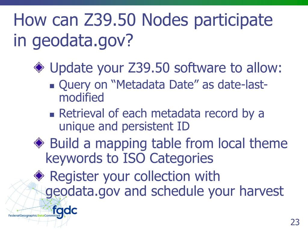 How can Z39.50 Nodes participate in geodata.gov?
