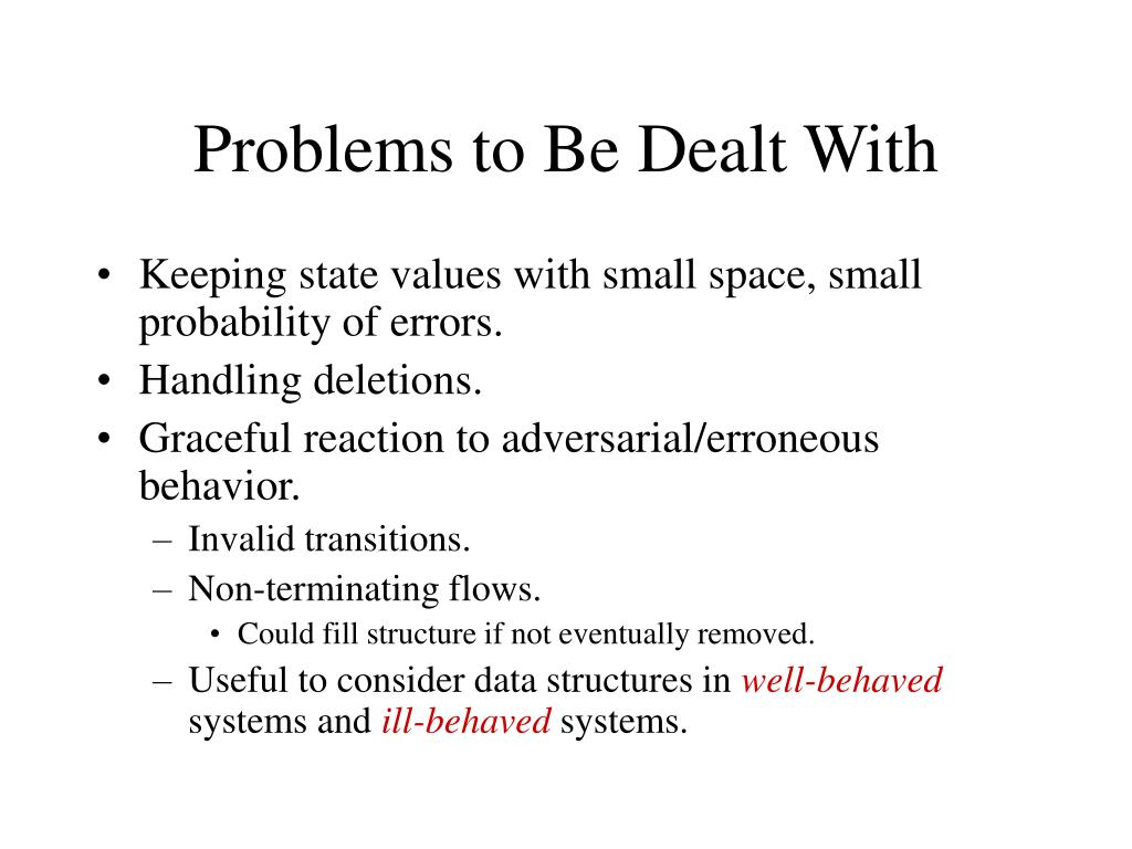 Problems to Be Dealt With