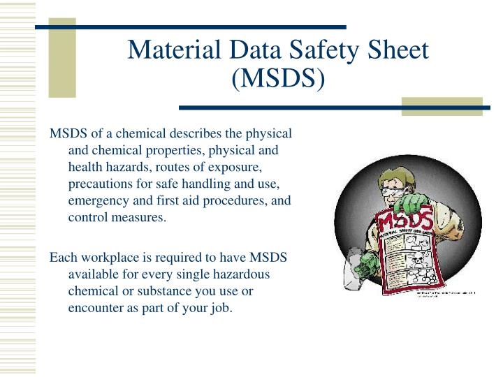 Material data safety sheet msds
