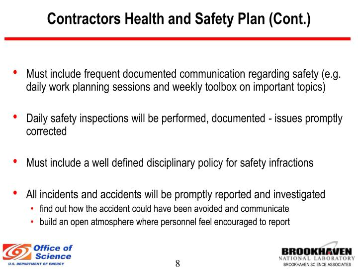 Contractors Health and Safety Plan (Cont.)