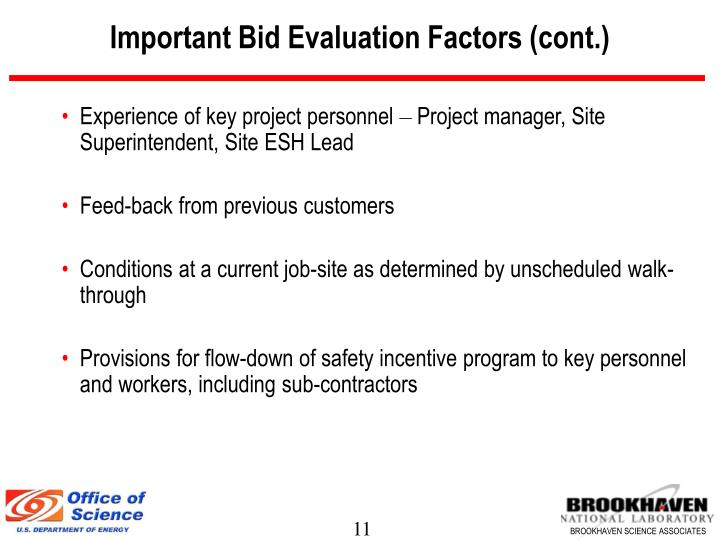 Important Bid Evaluation Factors (cont.)