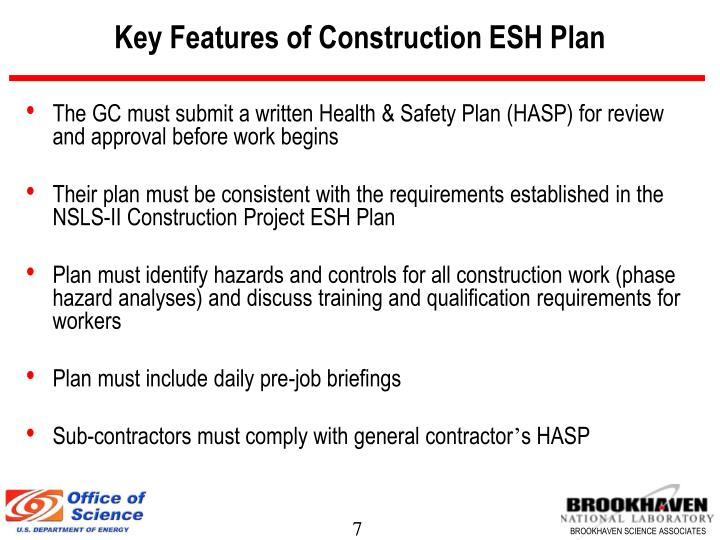 Key Features of Construction ESH Plan