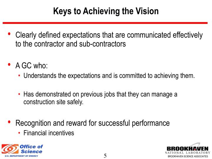 Keys to Achieving the Vision