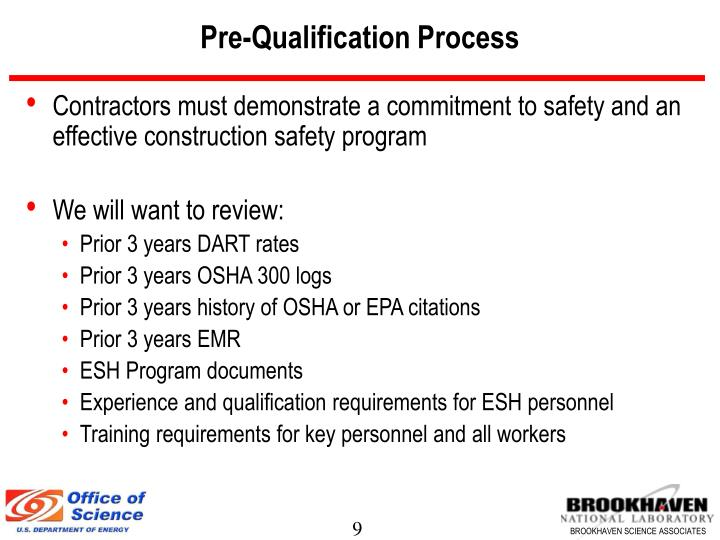 Pre-Qualification Process