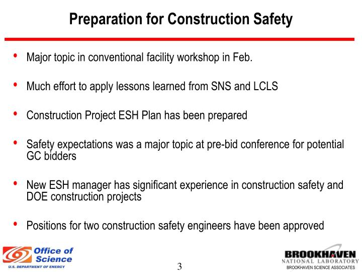 Preparation for construction safety