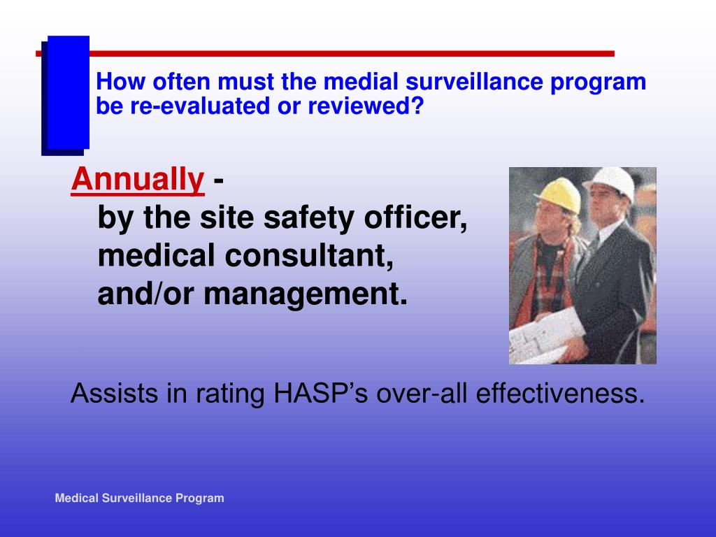 How often must the medial surveillance program be re-evaluated or reviewed?
