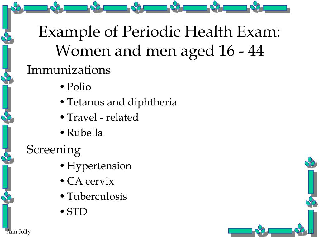 Example of Periodic Health Exam: Women and men aged 16 - 44