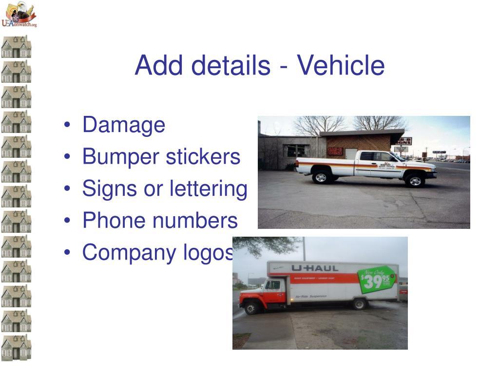 Add details - Vehicle