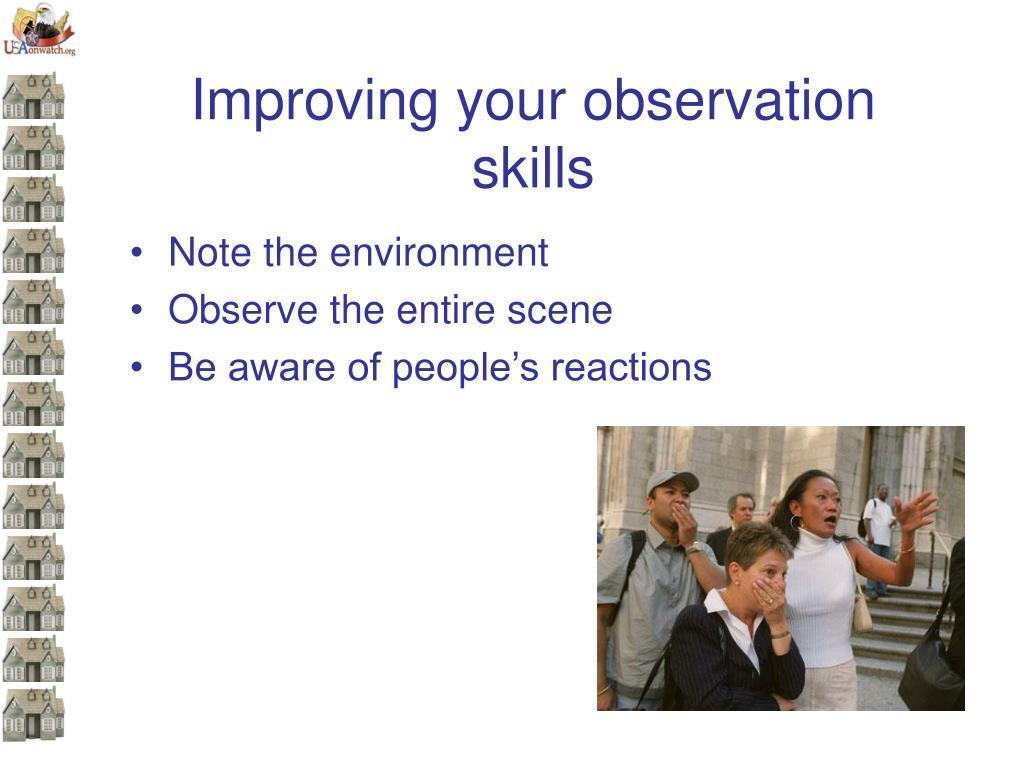 Improving your observation skills