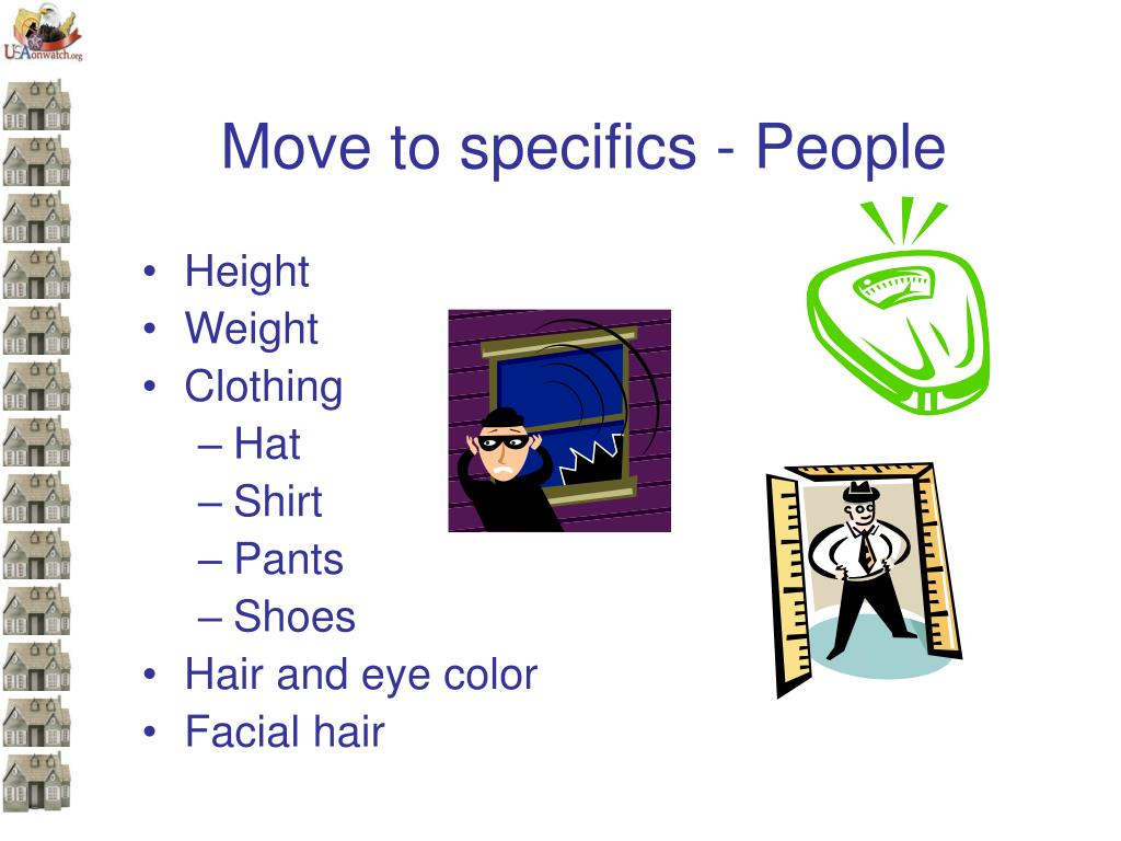 Move to specifics - People