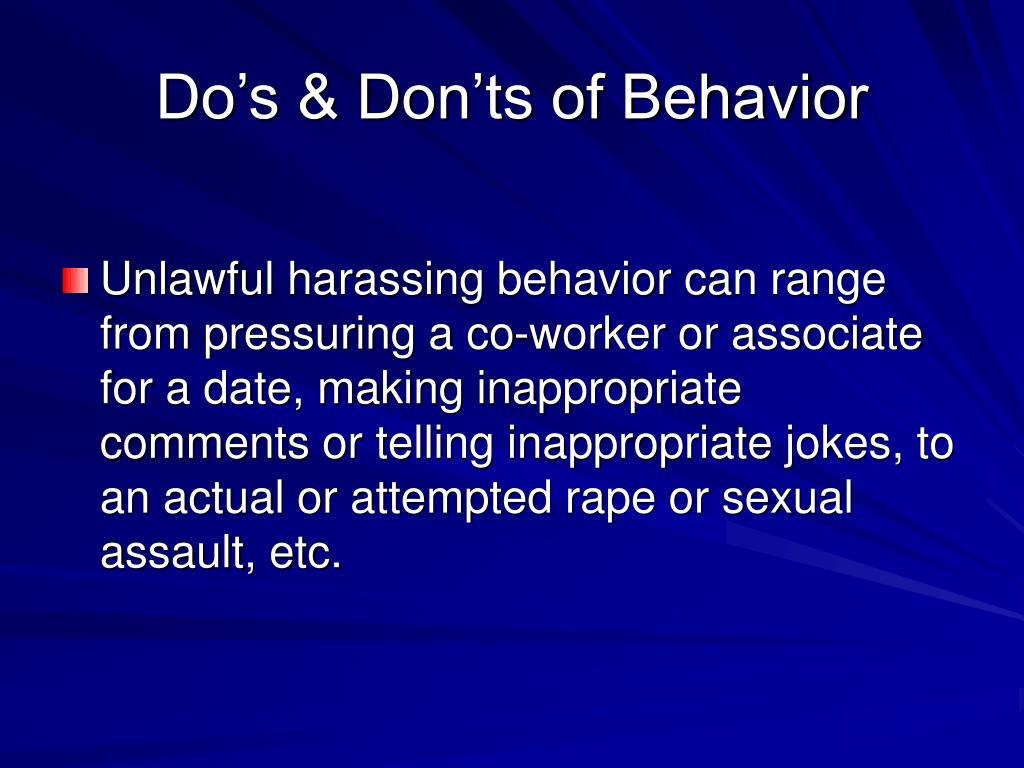 Do's & Don'ts of Behavior