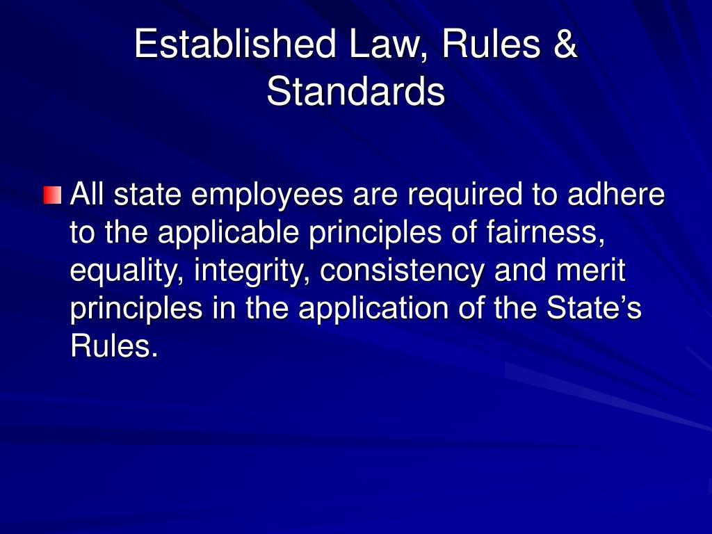 Established Law, Rules & Standards