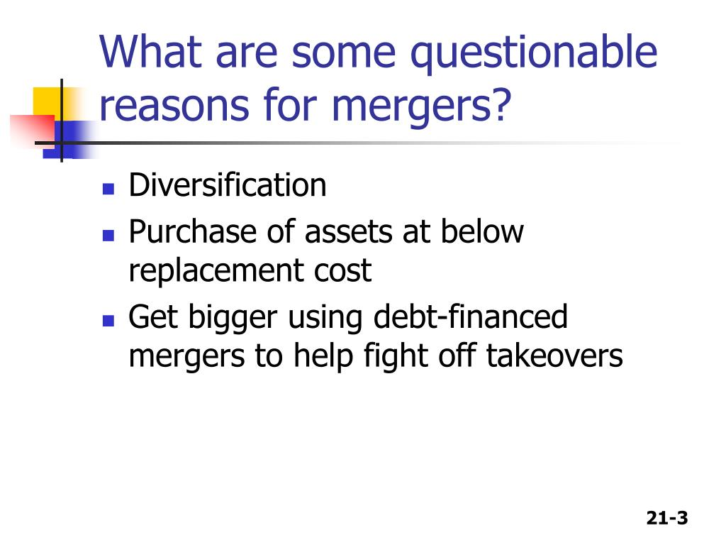 What are some questionable reasons for mergers?