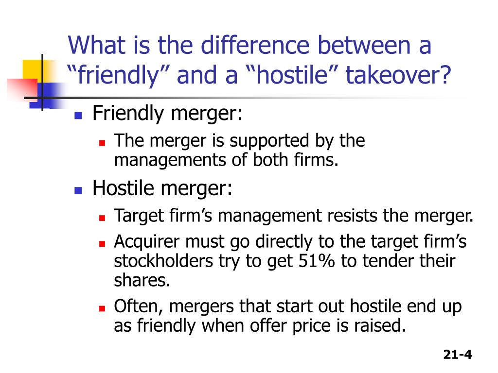 "What is the difference between a ""friendly"" and a ""hostile"" takeover?"