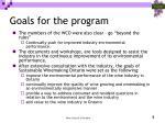 goals for the program