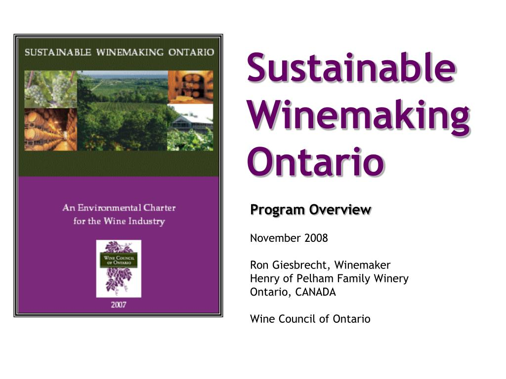 sustainable winemaking ontario l.