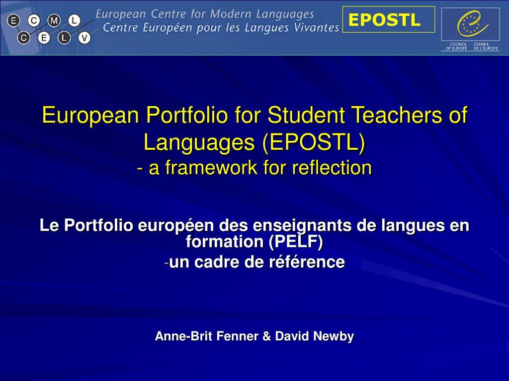 European Portfolio for Student Teachers of Languages (EPOSTL)