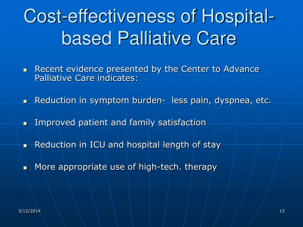 Cost-effectiveness of Hospital-based Palliative Care
