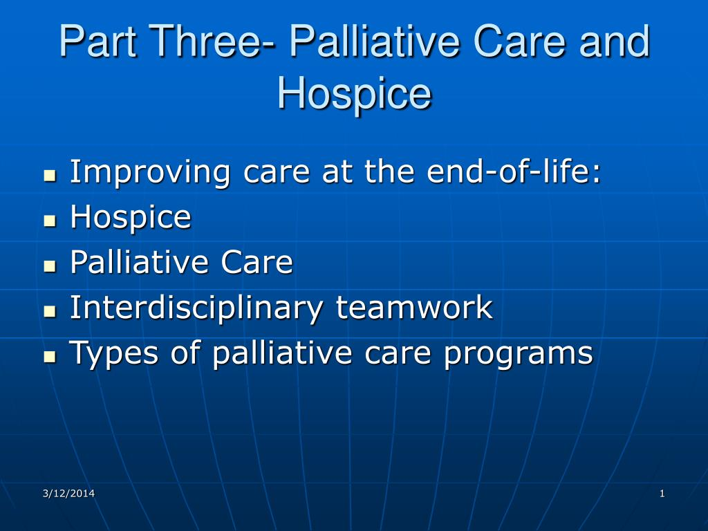 Part Three- Palliative Care and Hospice