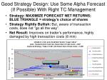 good strategy design use some alpha forecast if possible with right tc management