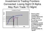 investment trading frontiers connected losing sight of alpha may ruin trade tc mgmt
