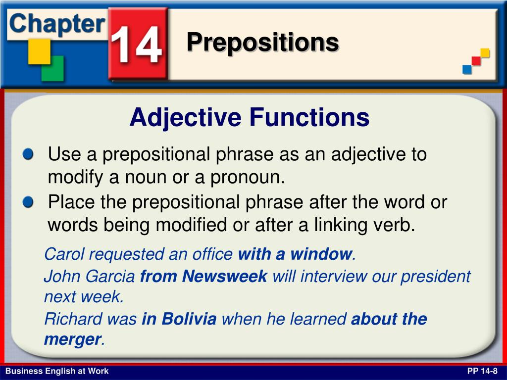 Adjective Functions