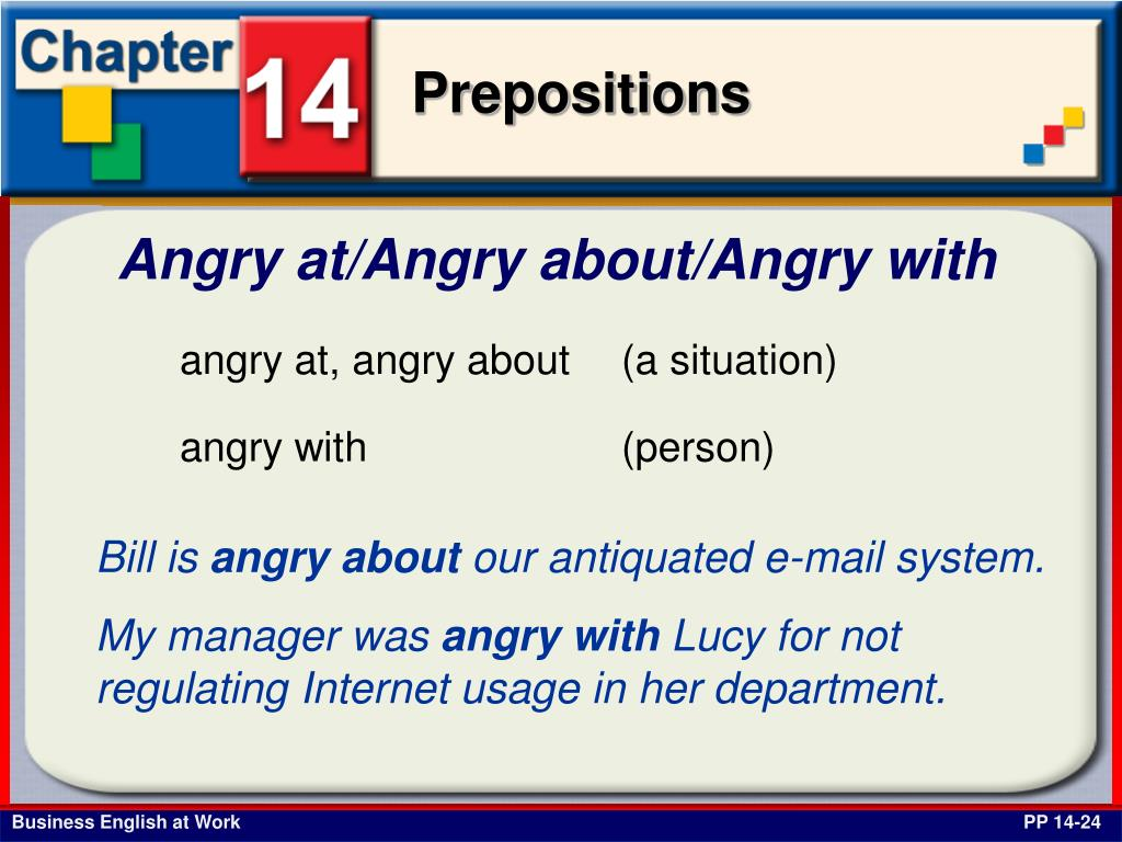 Angry at/Angry about/Angry with
