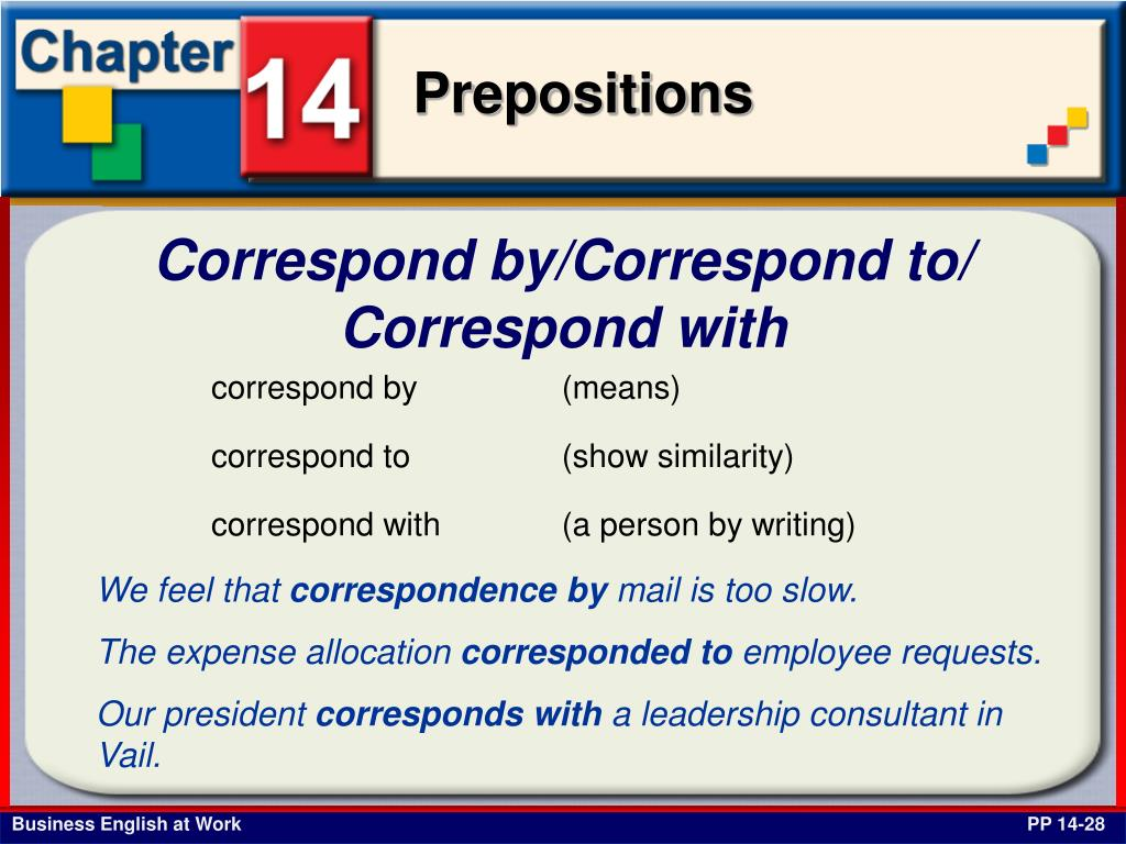 Correspond by/Correspond to/ Correspond with