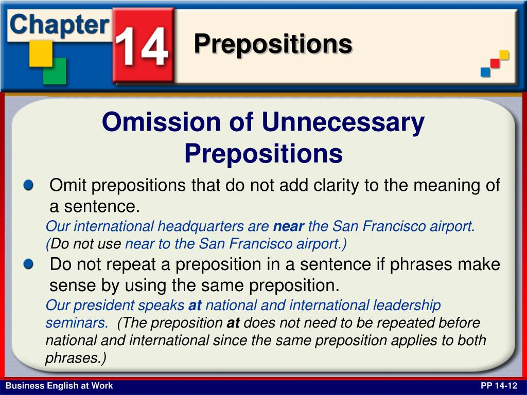 Omission of Unnecessary Prepositions