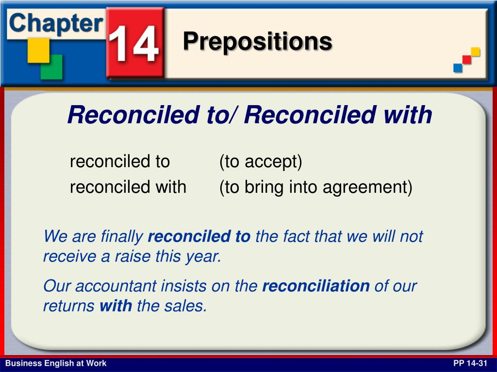 Reconciled to/ Reconciled with