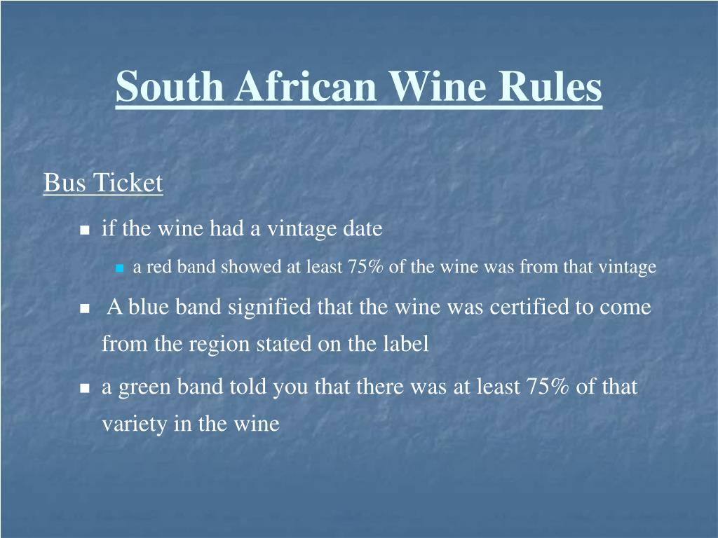 South African Wine Rules