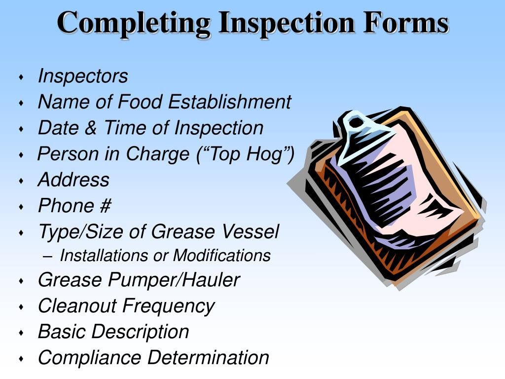 Completing Inspection Forms