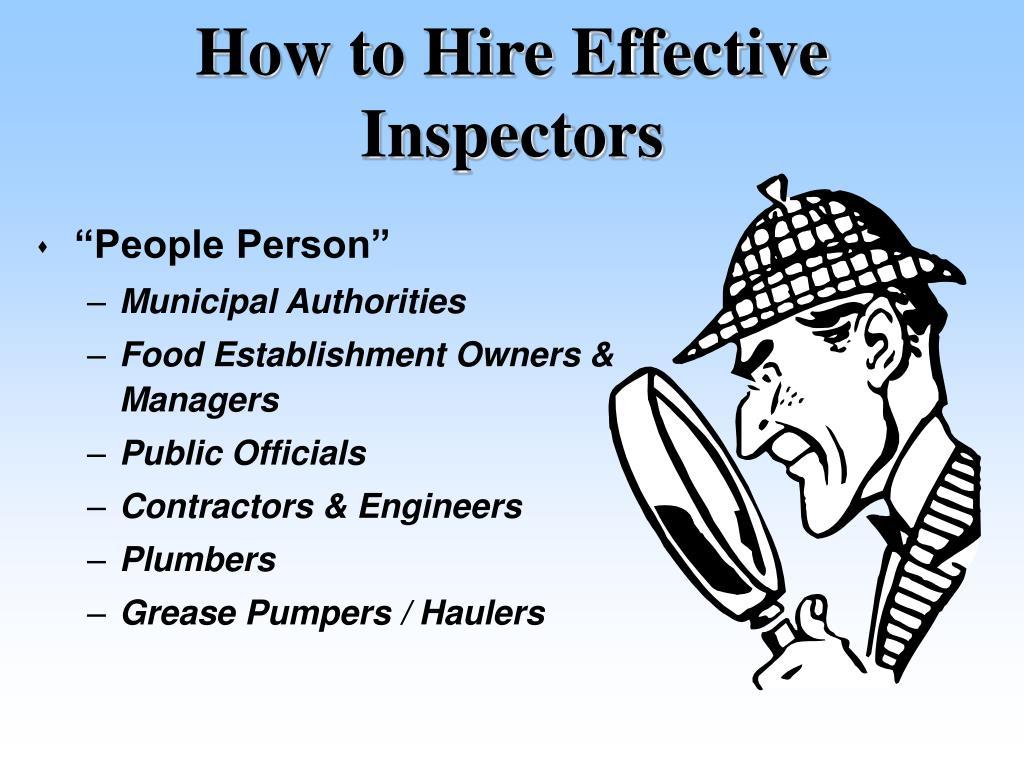 How to Hire Effective Inspectors