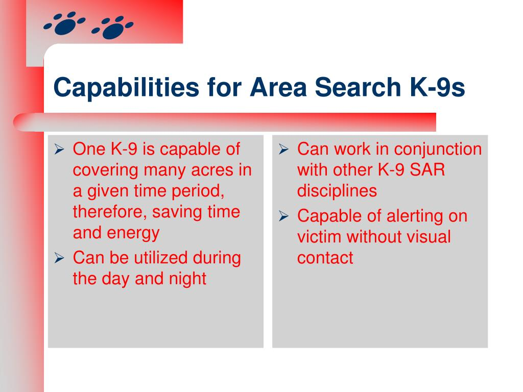 Capabilities for Area Search K-9s