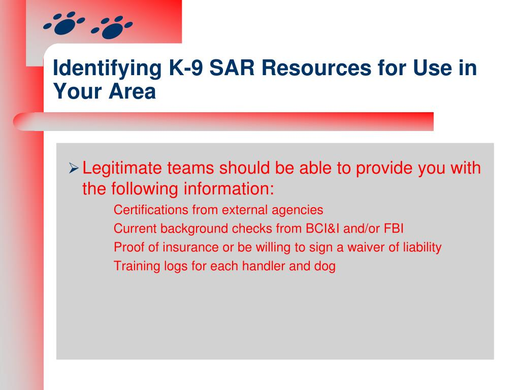Identifying K-9 SAR Resources for Use in Your Area