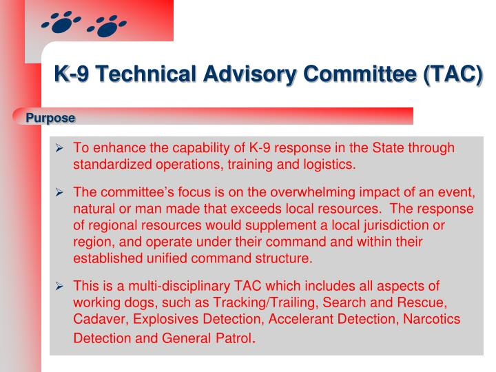 K 9 technical advisory committee tac