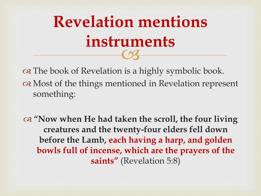 Revelation mentions instruments