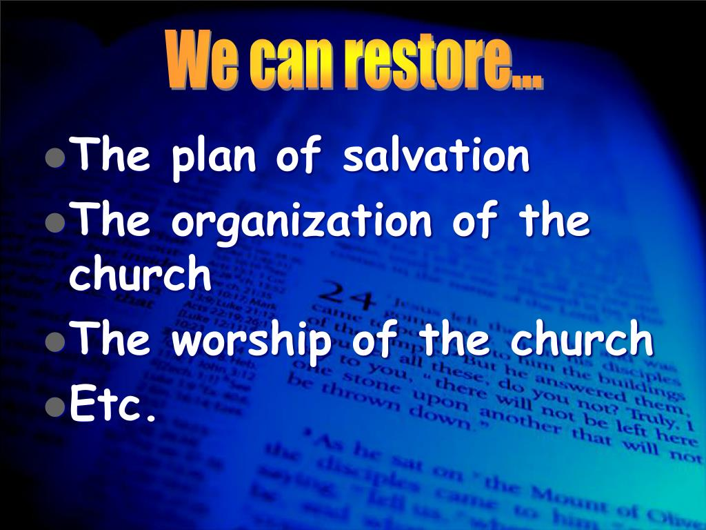 We can restore…