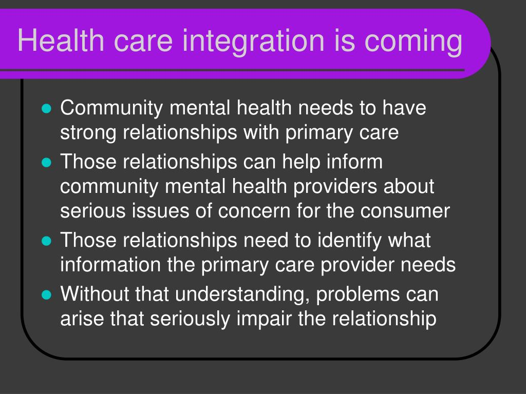 Health care integration is coming
