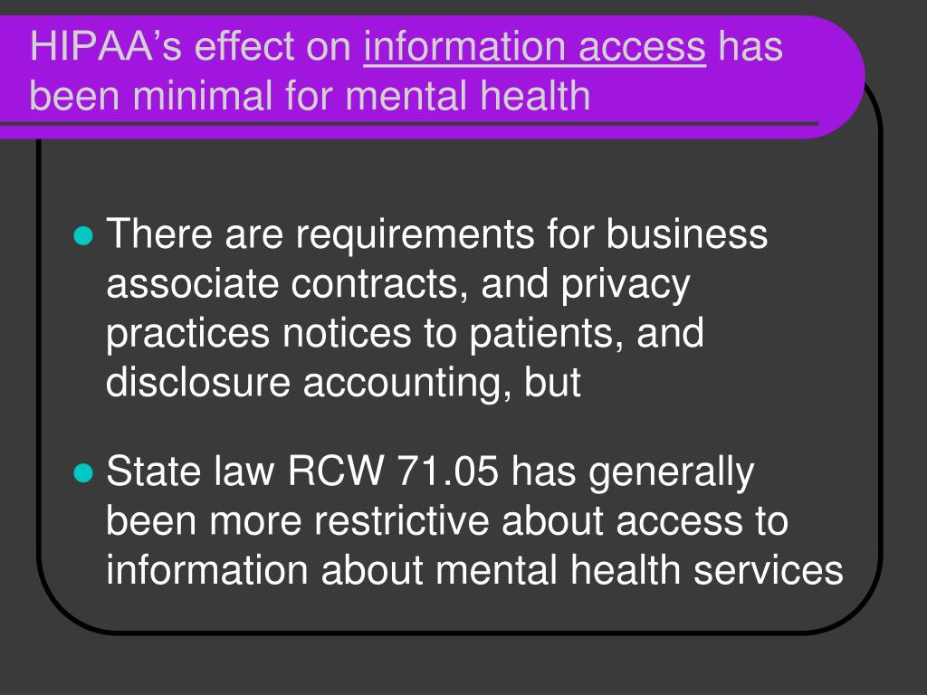 HIPAA's effect on