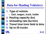 data for hauling vehicle s
