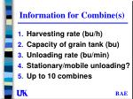 information for combine s