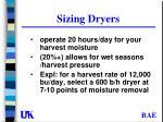 sizing dryers