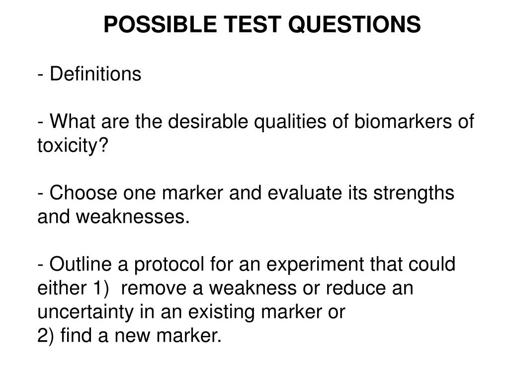POSSIBLE TEST QUESTIONS