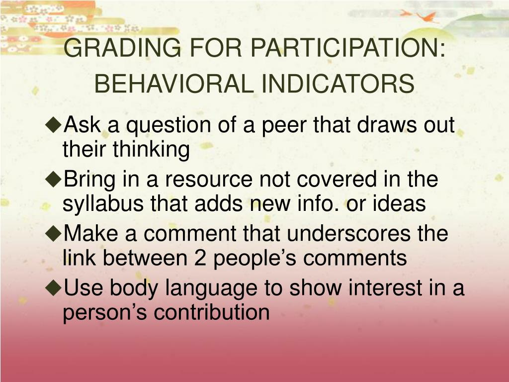 GRADING FOR PARTICIPATION: BEHAVIORAL INDICATORS