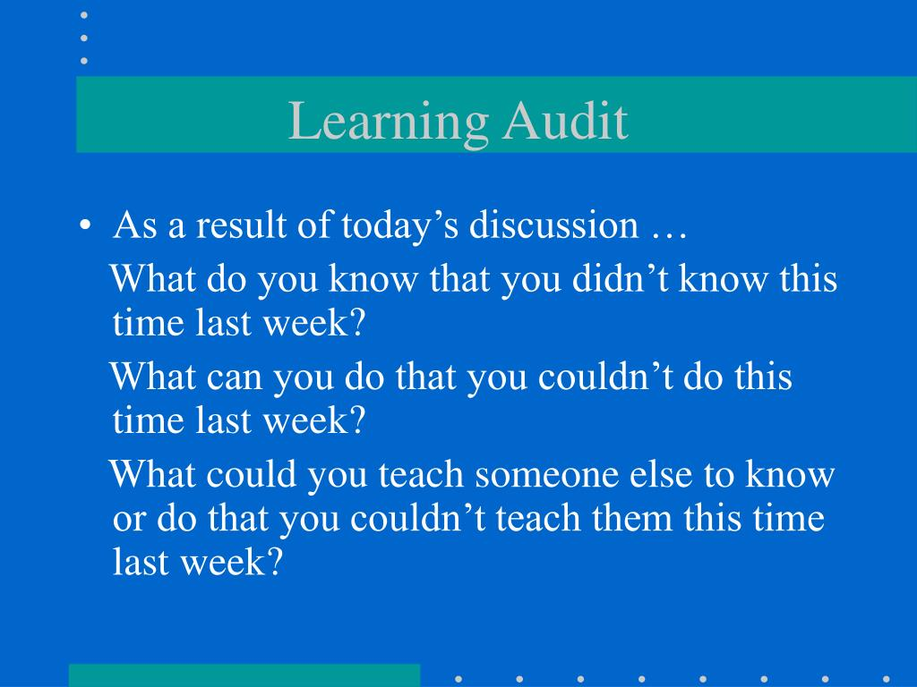 Learning Audit