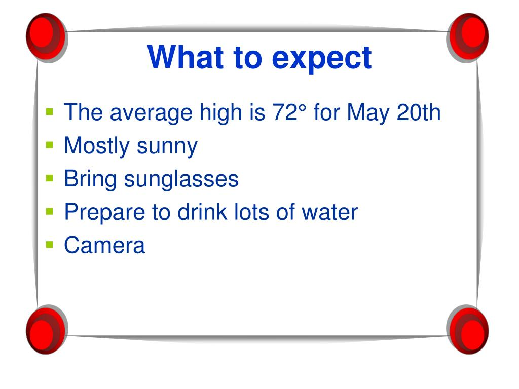 The average high is 72° for May 20th