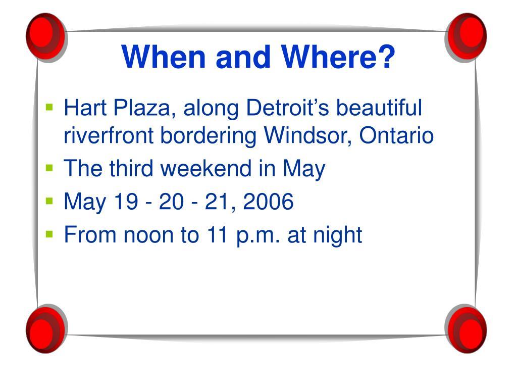Hart Plaza, along Detroit's beautiful riverfront bordering Windsor, Ontario