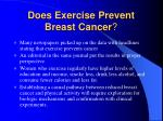 does exercise prevent breast cancer