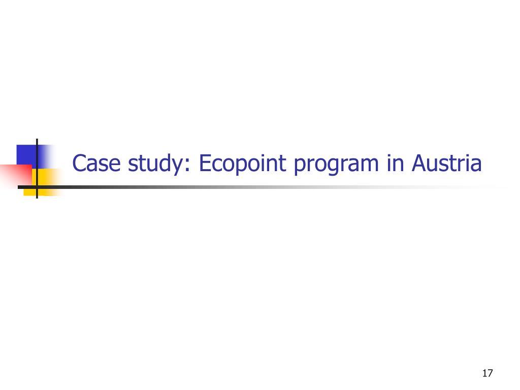 Case study: Ecopoint program in Austria